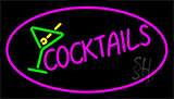 Pink Cocktail With Cocktail Glass Neon Sign
