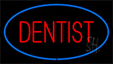 Red Dentist Blue Border Neon Sign