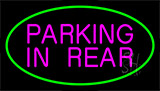 Parking In Rear Green Neon Sign