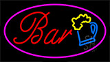 Purple Bar W Beer Mug Neon Sign
