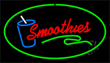 Smoothies With Glass Green Border Neon Sign