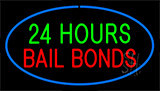 24 Hours Bail Bonds Blue Neon Sign