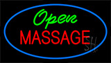 Green Open Red Massage Blue Neon Sign