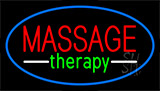 Massage Therapy Blue Border Neon Sign