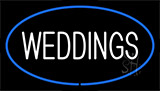Weddings White Blue Neon Sign