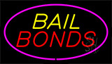 Yellow Bail Bonds Pink Border Neon Sign