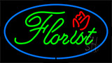 Green Florist Blue Border Neon Sign