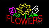 Red Flowers Logo Neon Sign