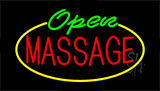 Green Open Massage Yellow Border Neon Sign