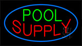Pool Supply Blue Border Neon Sign