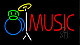 Music With Drum Set Neon Sign