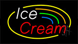 White Ice Cream Red Neon Sign