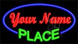 Custom Green Place Blue Border Neon Sign