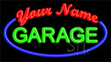 Custom Green Garage Blue Border Neon Sign