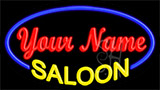 Custom Yellow Saloon Blue Border Neon Sign