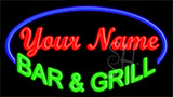 Custom Green Bar And Grill Blue Border Neon Sign