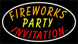 Fireworks Party Invitation In A Neon Sign