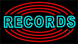 Records With Disc Neon Sign