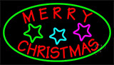 Red Merry Christmas With Stars Neon Sign