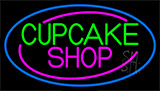 Block Cupcake Shop With Blue Neon Sign