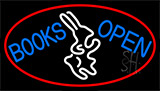 Blue Books With Rabbit Logo Open With Red Neon Sign