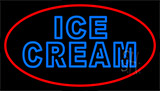 Blue Double Stroke Ice Cream With Red Neon Sign