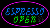 Blue Espresso Open With Pink Neon Sign