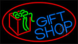 Blue Gift Shop With Red Neon Sign