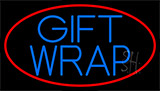 Blue Gift Wrap With Red Neon Sign