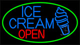 Blue Ice Cream Open With Green Neon Sign
