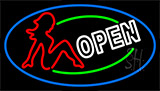 Girls Open With Blue Border Neon Sign