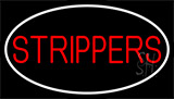 Red Strippers With White Border Neon Sign