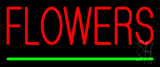 Red Flowers Green Line Neon Sign