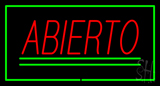 Abierto Rectangle Green Neon Sign