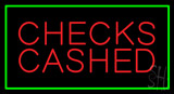 Red Checks Cashed Green Border Neon Sign