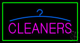 Pink Cleaners Green Border Neon Sign