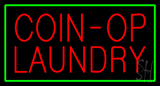 Coin Op Laundry Green Border Neon Sign