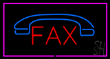 Fax With Logo And Pink Border Neon Sign