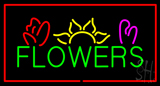Green Flowers Logo With Red Border Neon Sign