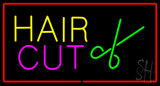 Hair Cut Logo With Red Border Neon Sign