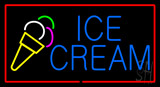 Blue Ice Cream With Red Border Neon Sign