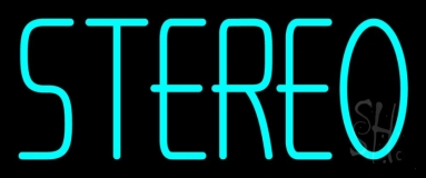 Turquoise Stereo Block Neon Sign