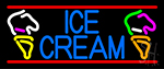 Blue Ice Cream With Cone Neon Sign