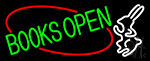 Green Books With Rabbit Logo Open Neon Sign
