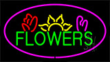 Green Flowers Logo With Pink Border Neon Sign