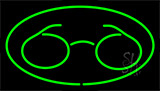 Glasses Logo Green Neon Sign