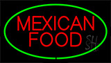 Red Mexican Food Green LED Neon Sign