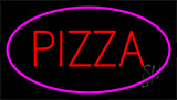 Red Pizza Pink Border LED Neon Sign