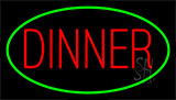 Red Dinner Green Neon Sign