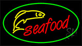 Seafood Logo Green Border LED Neon Sign